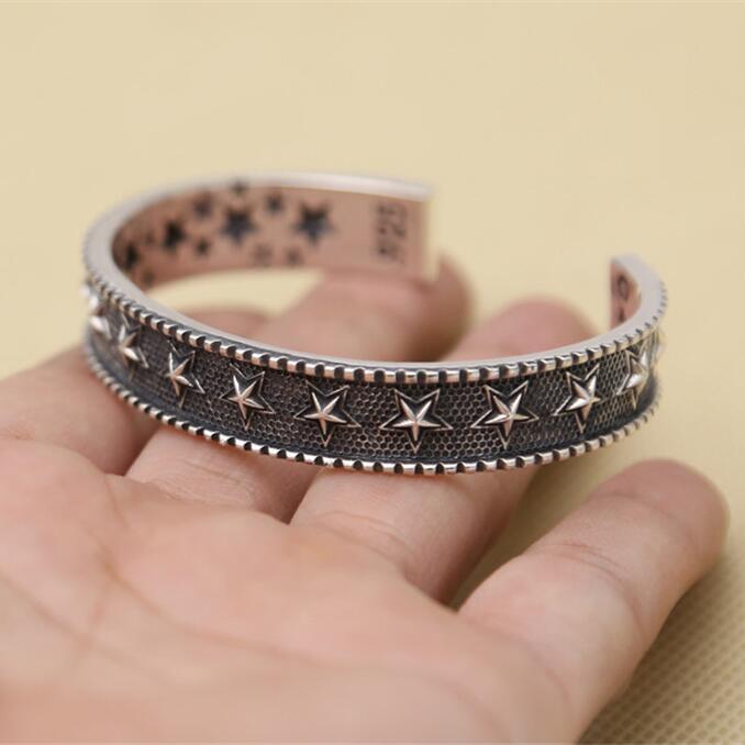 Hommes solide en argent Sterling 925 Bracelet manchette Bracelet nouveau Pentangle étoile 11mm bande haut à la mode Cool hommes argent 925 bijoux cadeau
