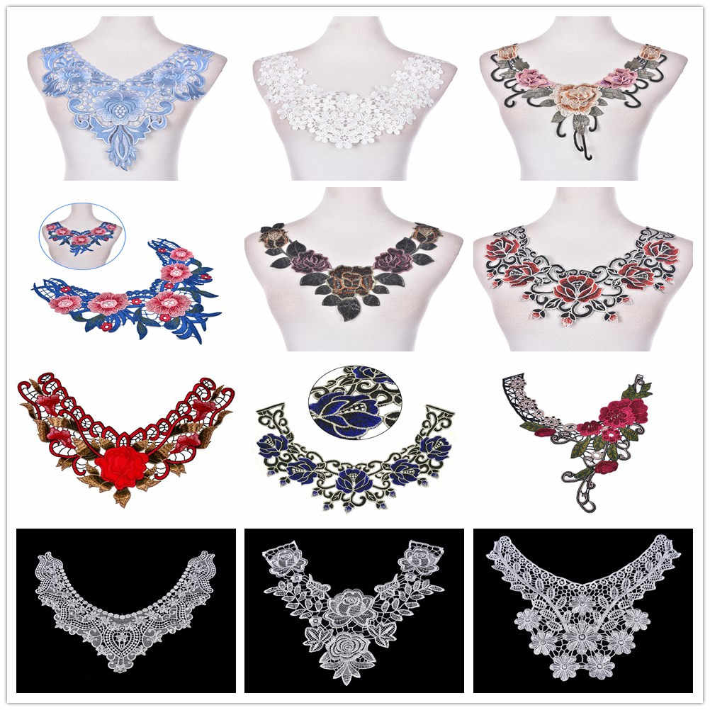 1PCS Flower Floral Embroidered Lace Neckline Collar Trim Neck Applique Clothes Dress Sewing Supplies Craft Classic Accessories