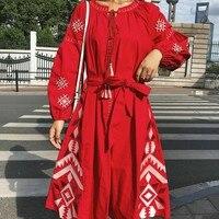 2019 NEW spring Women Dress Long Bohemian Embroidered Vestido Loose Cotton Vintage Dress Linen Dress Lantern