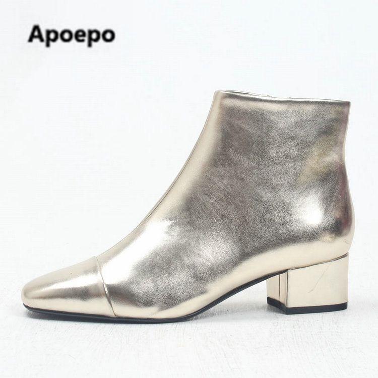 2018 Spring Bottes Cuir Métallique Talon Récent Date Chaussures Pour Or Offre Femmes Cheville Pointu Bout Med Spéciale En Femme w1q8zvB