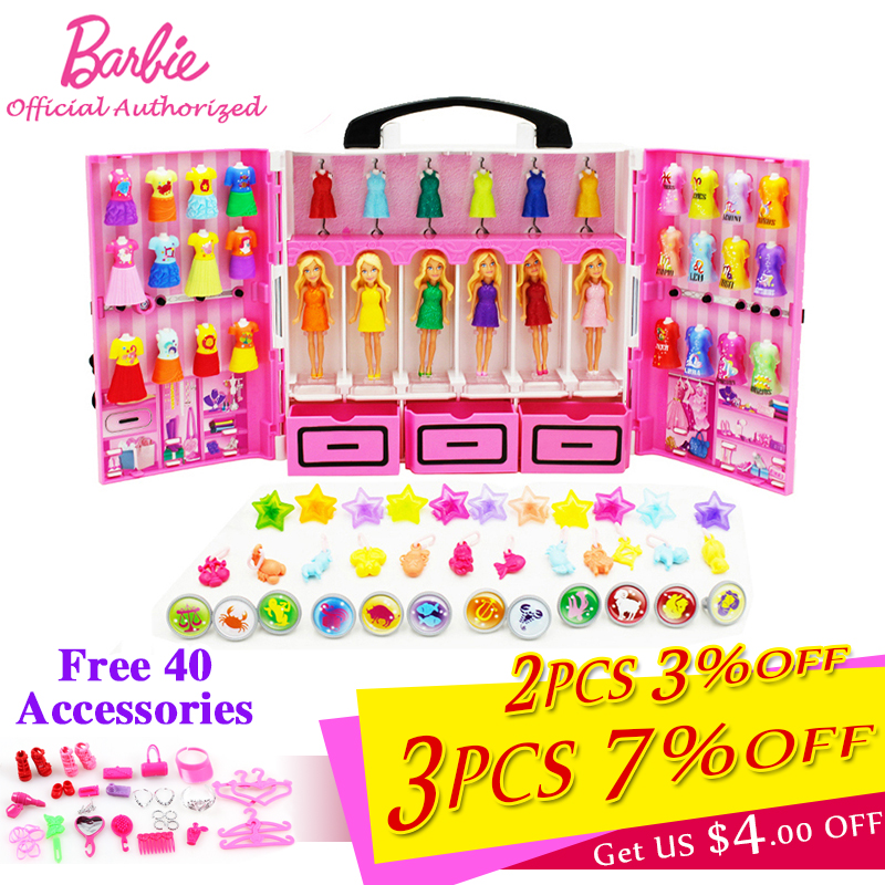 Original Barbie Dream Wardrobe Funny Pretend Dolls Toy Mini Pocket Barbie Constellation Series With Different Cloth Boneca DTC36