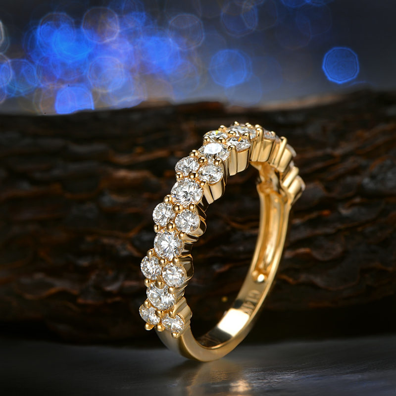 CaiMao 1.60ctw Natural Round G H SI1 Diamond 14K Yellow Gold Half Eternity Engagement Band