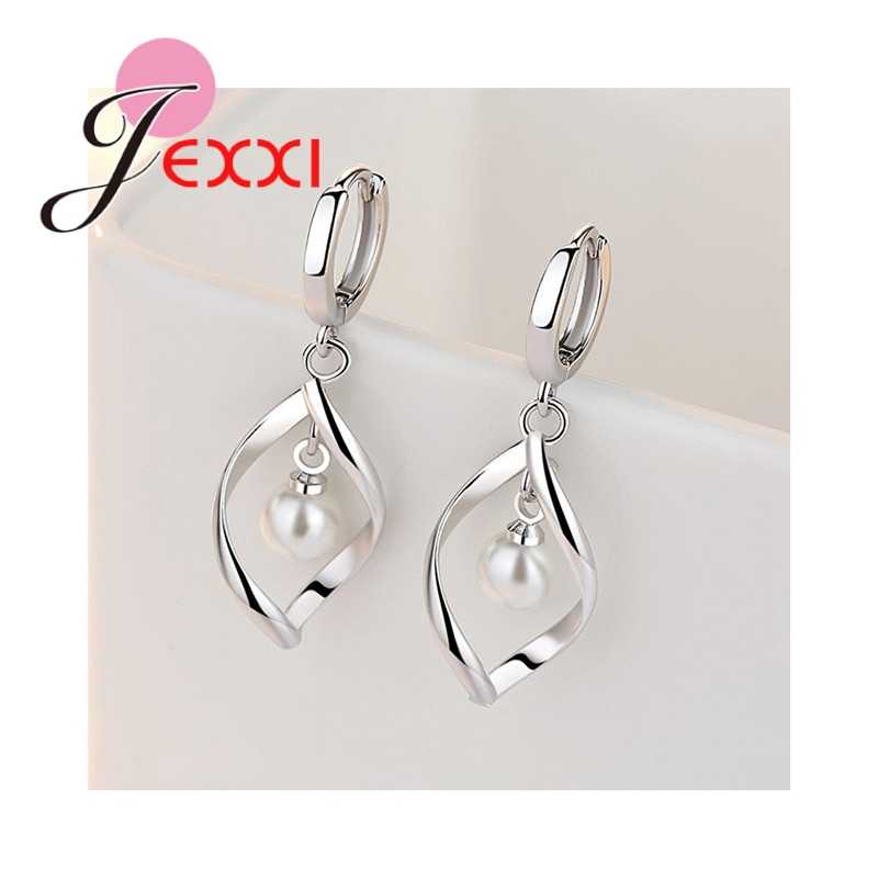 Exquisite Popular Genuine 925 Sterling Silver Pearls Design Necklace Hoop Earrings For Women Wedding Party Jewelry Sets