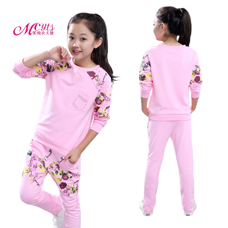 Girls Clothing Sets 2018 Spring Autumn Children Clothes Cotton Long Sleeve Sweatshirt+Pants Girl Sport Suit 4 6 8 10 12 13 Years free shipping children s clothing spring autumn girl leisure flower pattern girl suit long sleeve sweatshirt pants set
