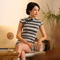 Charming Retro Cotton Satin Mini Cheongsam Chinese Traditional Evening Dress Qipao QP22