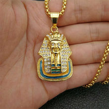 Egyptian Iced Out Bling Rhinestone Pharaoh Pendant Necklace For Women And Men Stainless Steel Egypt Jewelry Dropshipping(China)