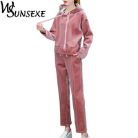 Velvet Tracksuits 2 Piece Set Women Autumn Drawstring Hooded And Ankle Length Pants Fashion Femme Warm