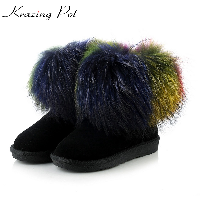 Krazing pot cow suede round toe flat with colorful real fur Russia winter snow boots plus size 42 43 keep warm ankle boots L55 big size 34 43 winter russian women keep warm shoes 100% cow suede fur shoes flat with round toe solid ankle lady snow boots