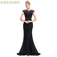 Elegant Sheer Cap Sleeve Long Evening Dress Party Women Lace Mermaid Evening Gowns Bodycon Slim Ladies