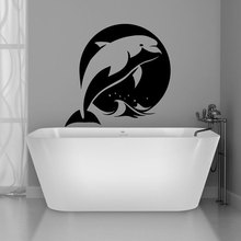 Dolphin Home Decor Sea Nursery Room Fish Bathroom Wall Sticker Vinyl Coastal Beach House Decals Waterproof Mural Wallpaper Y-36 все цены