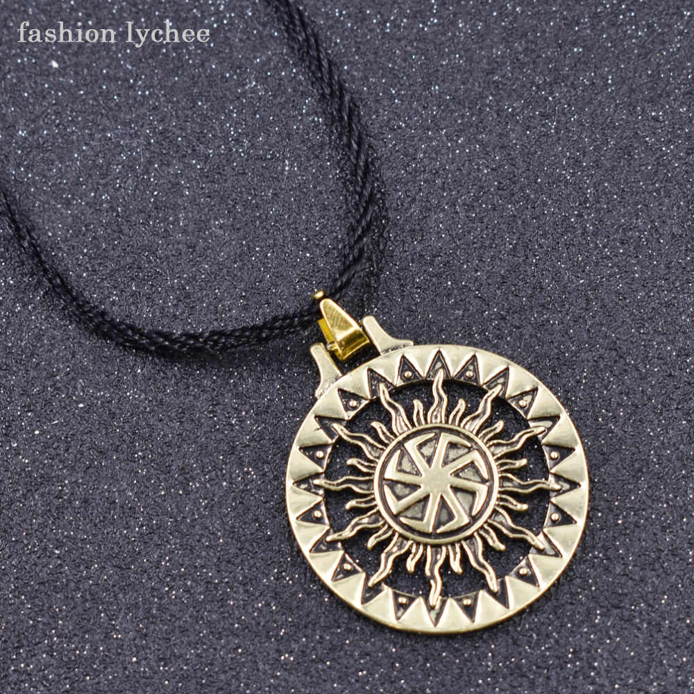 fashion lychee Slavic Kolovrat Sun Round Geometric Pendant Necklace Gold Silver Color Charm Rope Chain Men Necklace