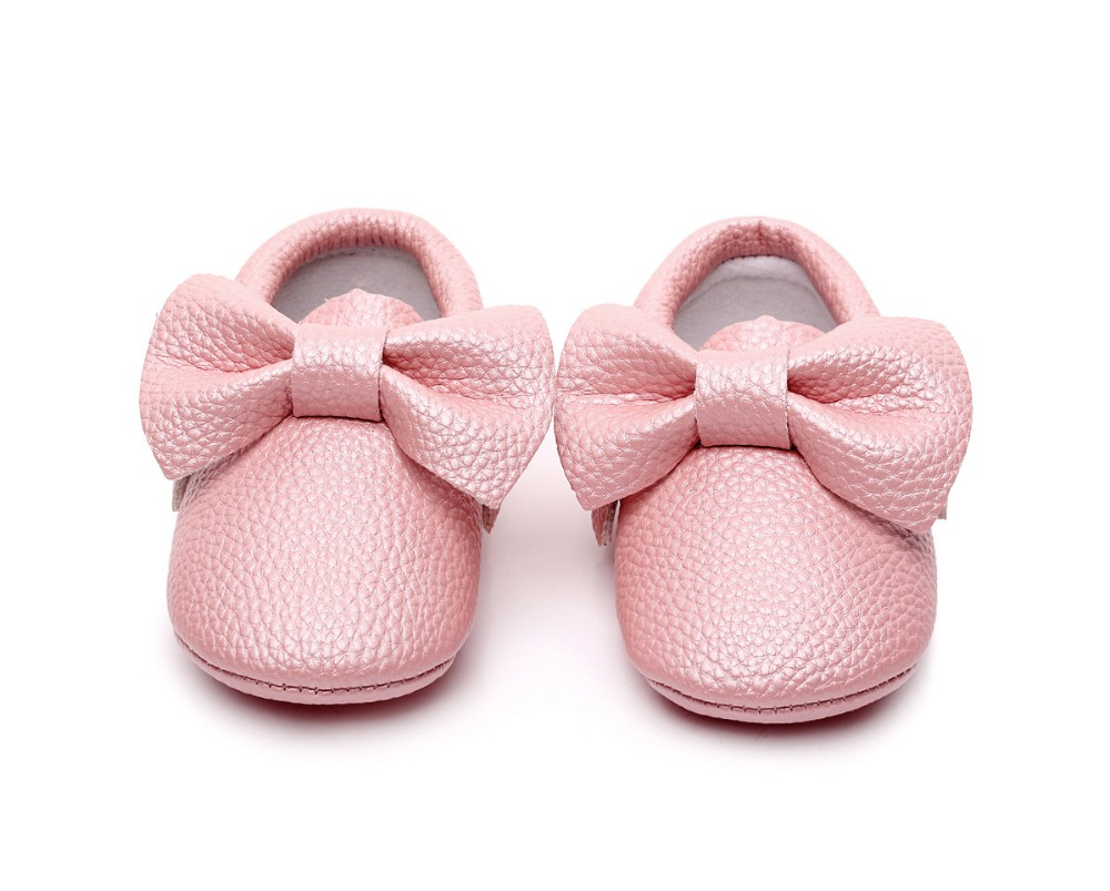 New style Pink PU Leather Baby Moccasins Bow soft bottom child boys girls First Walkers fringe infant toddler baby shoes 0-24 M