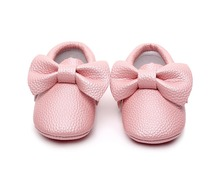 New Style Pink Leather Baby Moccasin Shoes