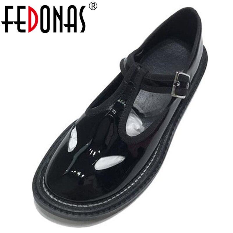 FEDONAS 2019 Neue Marke Design Runde Kappe Flach Buakle Frauen Wohnungen Komfortable Patent Leder Sommer Einzelnen Schuhe Frau-in Flache Damenschuhe aus Schuhe bei  Gruppe 1