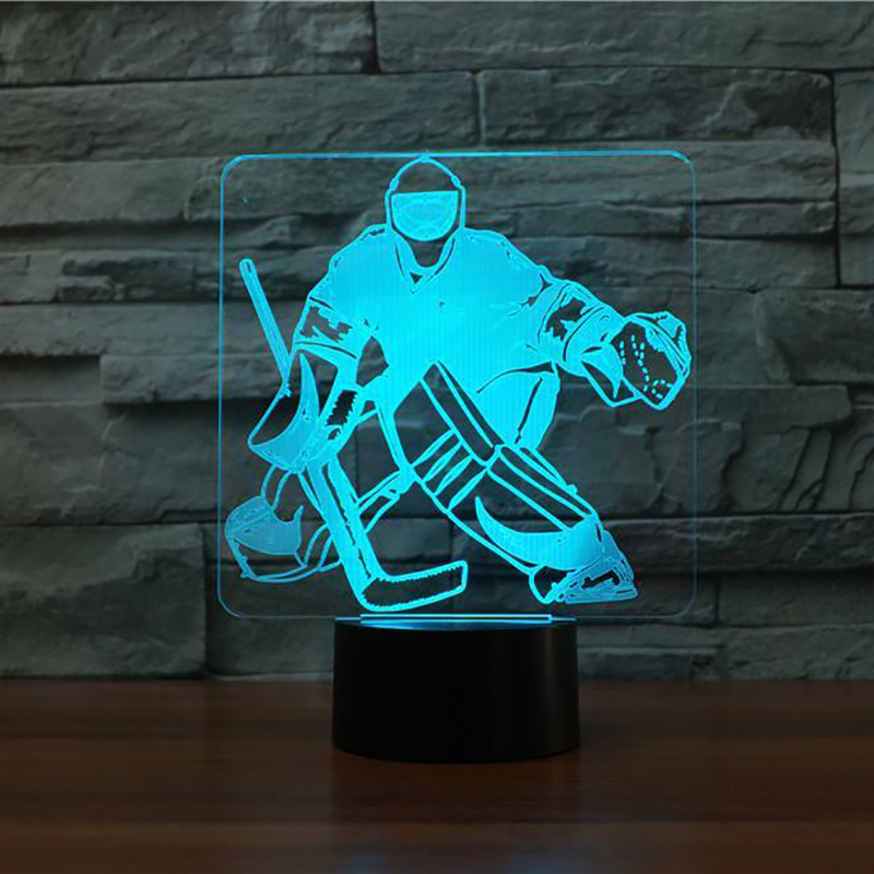 LED 3D Usb Nightlight 7 Color Change Ice Hockey Goalie Modelling Usb Desk Table Lamp Led Sports Fans Gifts Home Lighting Decor