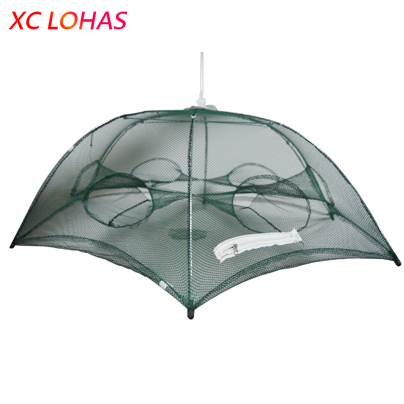 Foldable Umbrella Cast Nylon Mesh Fishing Net to Fish Crab Crayfish Shrimp Fishing Bait Trap Dip Net Cage 80*80*40 /100*100*40cm