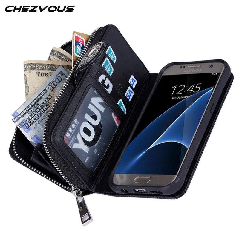 Untuk Samsung S7 Kasus Multifungsi Ritsleting Dompet Kulit Magnetic - Aksesori dan suku cadang ponsel - Foto 4