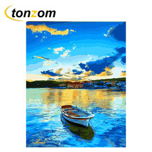 RIHE Blue Sky Boat Drawing By Numbers DIY Sea Painting Handwork On Canvas Landscape Oil Art Coloring Home Decor 2018
