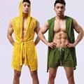 Moda masculina Sexy Roupa Interior Oco Roupão Pijama Desgaste Casual Homewear Nightwear Lingerie Masculina (para não incluir calcinha)