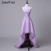 JaneVini High Low Long Bridesmaid Dresses A Line Sweetheart Lace Appliques Sequined Backless Tulle Formal Prom Gowns Plus Size