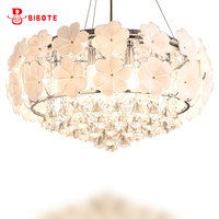 LED Crystal Chandeliers Lustres De Sala Beautiful Rose Style Hanging Lamps With Led Bulbs For Bedroom