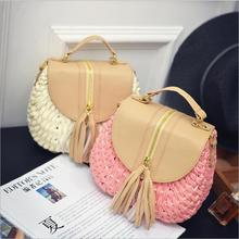 2018 new arrival Ladies sexy Woven Knitting Messenger Crossbody Bags New Summer Bohemian Women Tassel Straw Beach Shoulder Bag