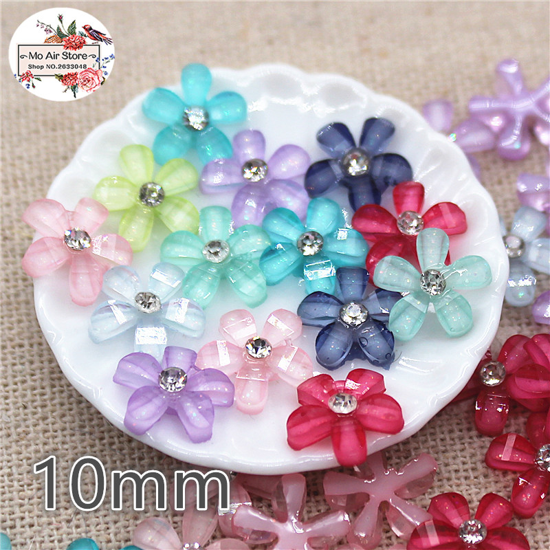 50pcs 10mm Mixed Color Rhinestone Flower Camellia Resin Flatback Cabochon DIY Jewelry/phone Decoration