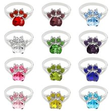 birthday jewelry Dog Animal Paw Print Birthstone Sterling Ring Pet Paw at The Animal Simple Fashion ring For Lovers(China)