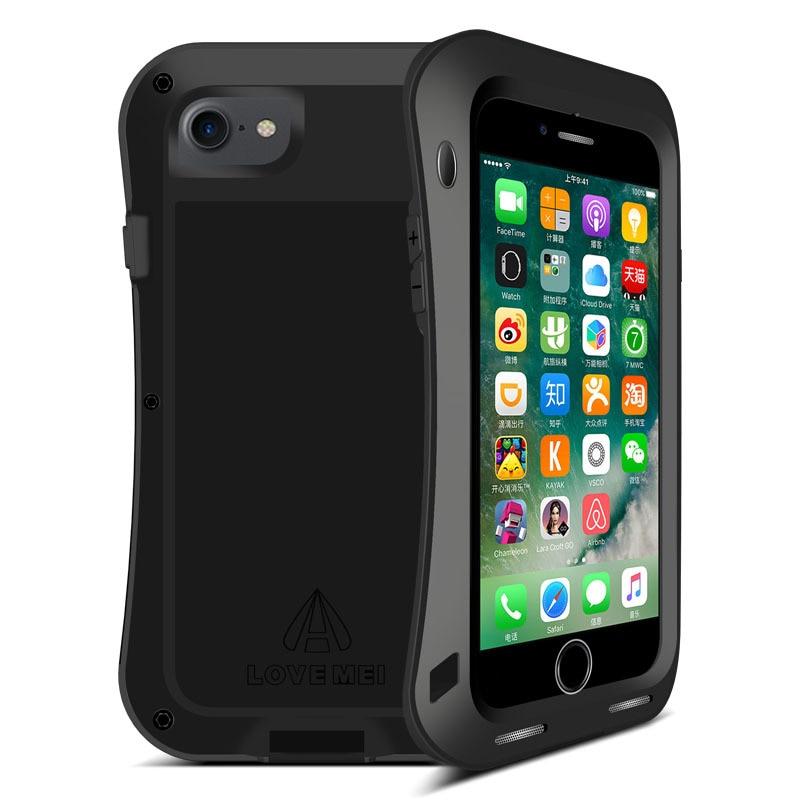 LOVE MEI étui pour iphone 7 8 7 Plus 8 Plus couverture en aluminium en métal pour iPhone7 7 Plus 8 Plus étanche à l'eau/aux chocs/à la pluie