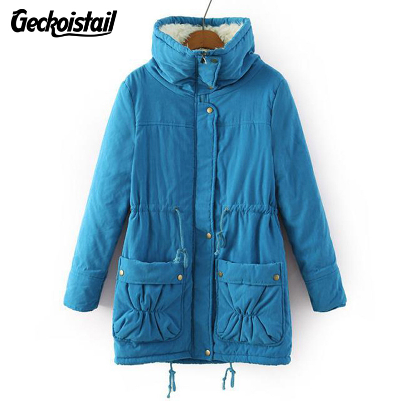 Geckoistail New Winter Coat Women Slim Plus Size Outwear Medium-Long Wadded Jacket Thick Hooded Cotton Fleece Warm Cotton Parkas new winter women jacket medium long thicken plus size outwear hooded wadded coat slim parka cotton padded jacket overcoat cm1039