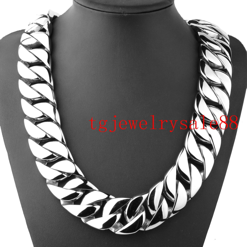 Heavy Huge 31mm Wide Stainless Steel Casting High Quality Cuban Curb Link Chain Mens Bracelet Or Necklace Polishing Silver 8 40
