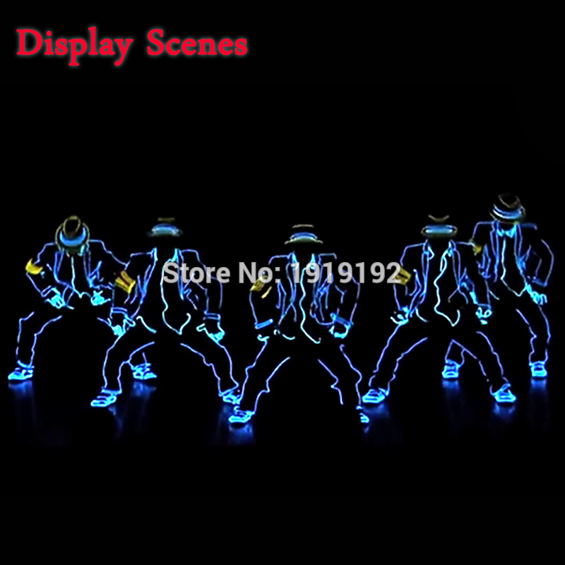 EL Suits New Fashion LED/EL Clothes Luminous Costumes Glowing Gloves Shoes Light Clothing Men EL Masks Clothe Dance