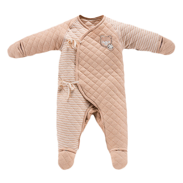 baeabe3b1473 Baby Quilted Romper Jumpsuit Girls Boys Long-sleeved Belt Unisex colored  Cotton Thicken Soft kids Climb Clothes Romper