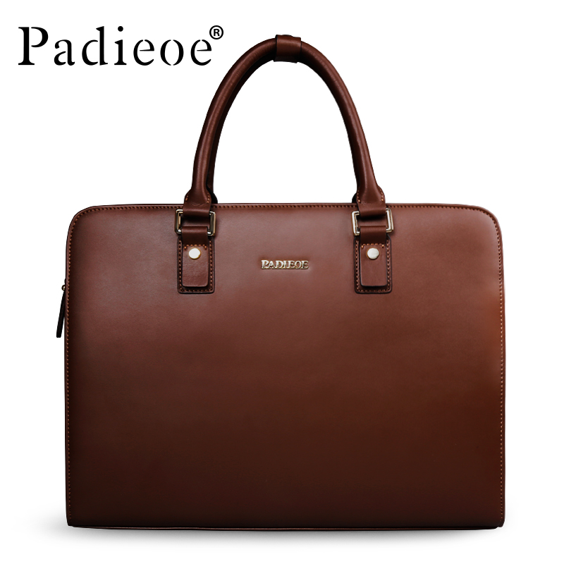 Padieoe Split Cow Leather Briefcase Men Vintage Laptop Handbag Business Men s Retro Leather Messenger Bag
