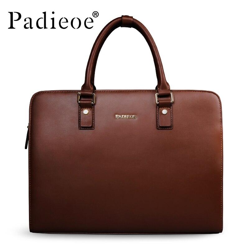 Padieoe Split Cow Leather Briefcase Men Vintage Laptop Handbag Business Men's Retro Leather Messenger Bag Casual Bag For Male