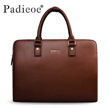 Padieoe Split Cow Leather Briefcase Men Vintage Laptop Handbag Business Men's Retro Leather Messenger Bag Casual Bag For Male - DISCOUNT ITEM  30% OFF All Category