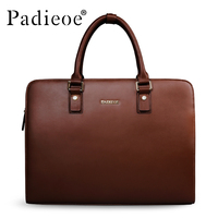 Padieoe Split Cow Leather Briefcase Men Vintage Laptop Handbag Business Men S Retro Leather Messenger Bag