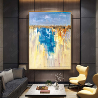 Abstract modern hand painted canvas decorative wall pictures cuadro decorativo living room large oil painting blue vertical art
