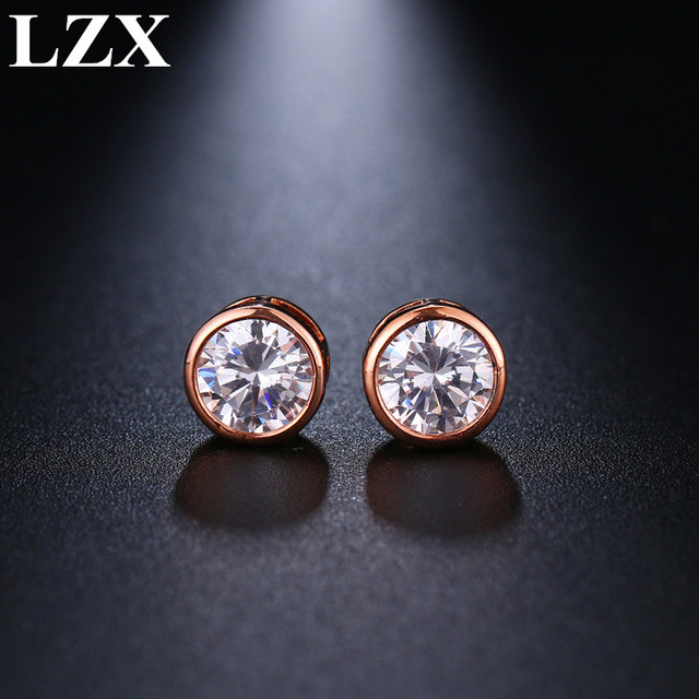 a2a783b23 LZX New Trendy White/Rose Gold Color Classic Design 8mm Cubic Zirconia  Stone Stud Earrings For Women Fashion Party Jewelry