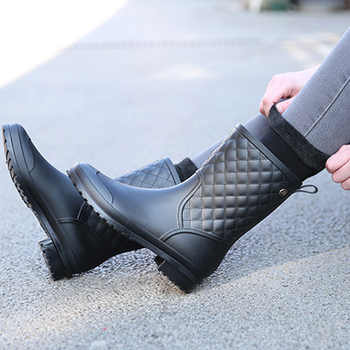 2018 fashion rubber warm shoes new plaid casual rubber shoes ladies rain boots water shoes in the tube women's adult rain boots - DISCOUNT ITEM  40% OFF All Category