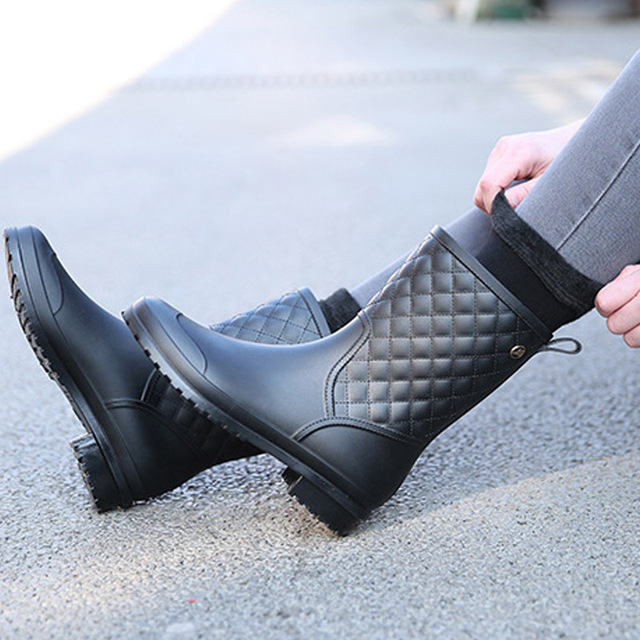 2018 fashion rubber warm shoes new plaid casual rubber shoes ladies rain boots water shoes in the tube women's adult rain boots