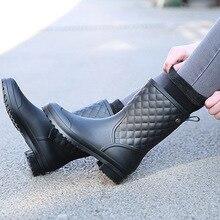 Zapatos cálidos de goma de moda para mujer, calzado informal de goma a cuadros, Botas de lluvia para mujer, zapatos de agua en el tubo, Botas de lluvia para adulto 2018