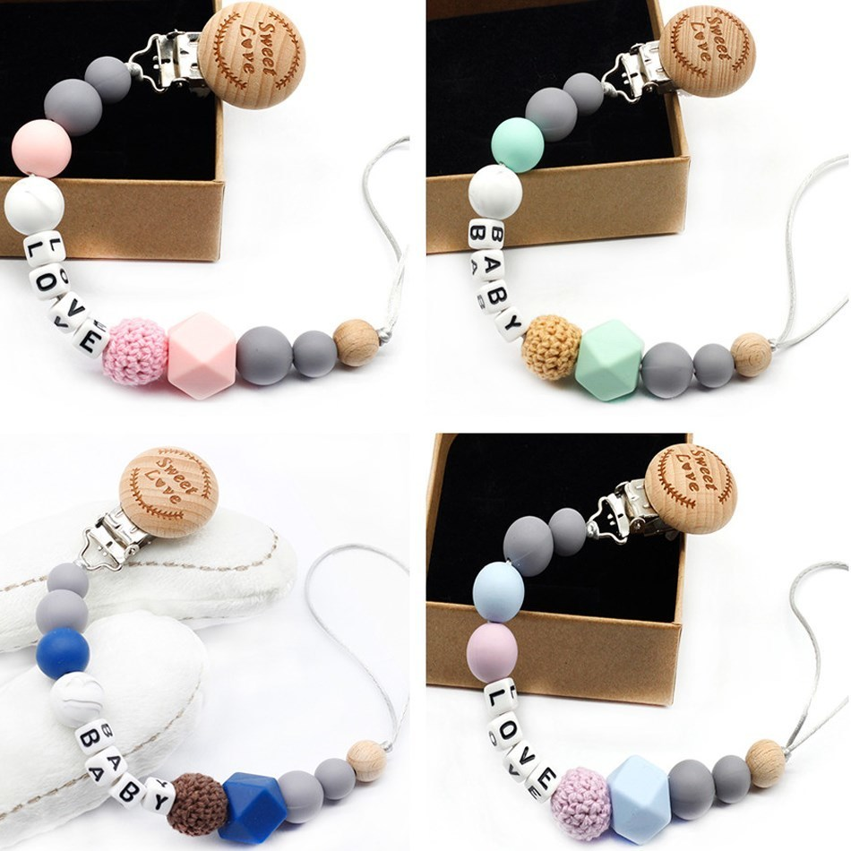 9 Styles DIY Holder Personalized Name Silicone Pacifier Clip Chain Rinfant Nipple Bottle Clip Teeth Dummy Clips
