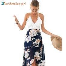Sexy backless summer dress lace long Floral chiffon flower print patchwork dress vestidos de fiesta Boho Style Women Beach Dress недорого