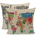 Hot Fashion World Map Pattern Cotton Linen Square Throw Pillow Case Cushion Cover Home Bed Decor Pillowcase