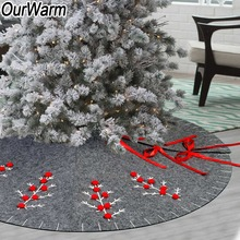 OurWarm 48 inch Felt Applique Christmas Tree Skirt Kit Round Grey 2018 New Year Party Decorations