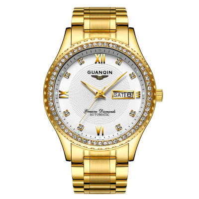 GUANQIN GJ16063 watches men luxury brand automatic mechanical watch gold-plated Relogio Masculino Wristwatches unique smooth case pocket watch mechanical automatic watches with pendant chain necklace men women gift relogio de bolso