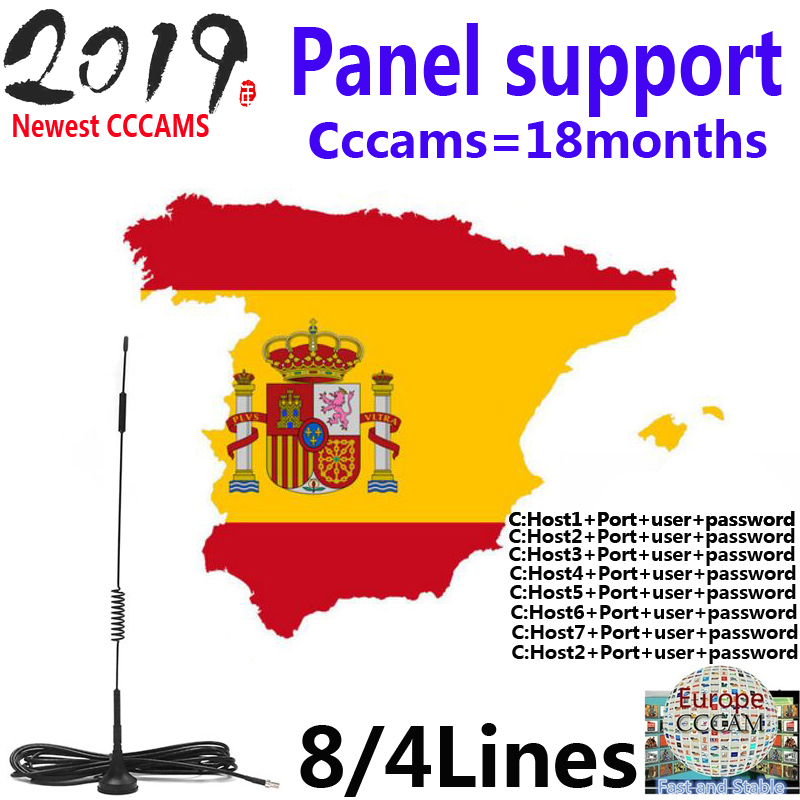 2019 1 Year Ccams For Satellite Receiver 4line Panel WIFI FULL HD DVB-S2 Support Cccams Via USB Wifi Dongle