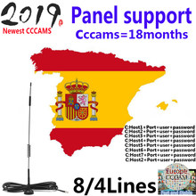 2019 1 año Ccams para receptor satelital 4 líneas panel WIFI FULL HD DVB-S2 soporte Cccams vía USB Wifi dongle(China)