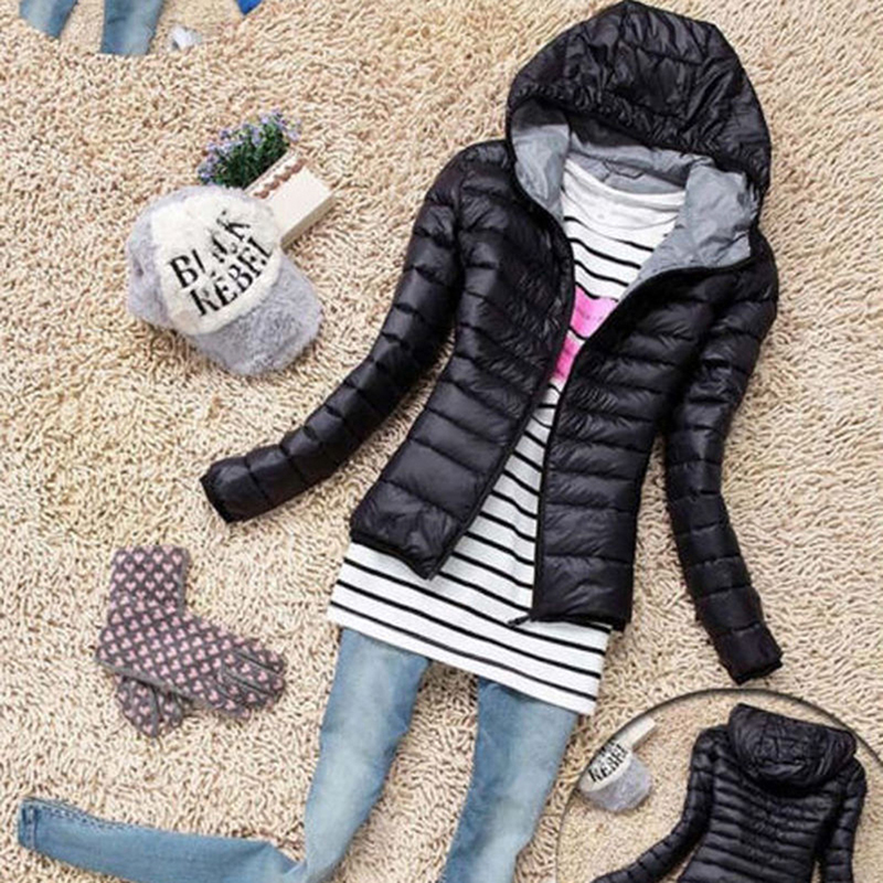 Winter Women Ultra Light Hooded Jacket Warm Zipper Coats Long Sleeve   Parkas   Female Solid Portable Outwear